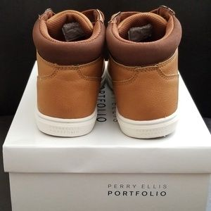 8e40e2cef5 BOYS LEATHER⭐ PERRY ELLIS ⭐TAN HIGH TOP SNEAKERS NWT